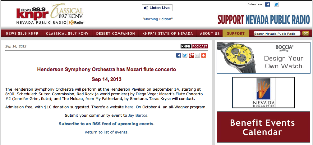 News 88.9 KNPR -- Desert Bloom -- Henderson Symphony Orchestra has Mozart flute concerto